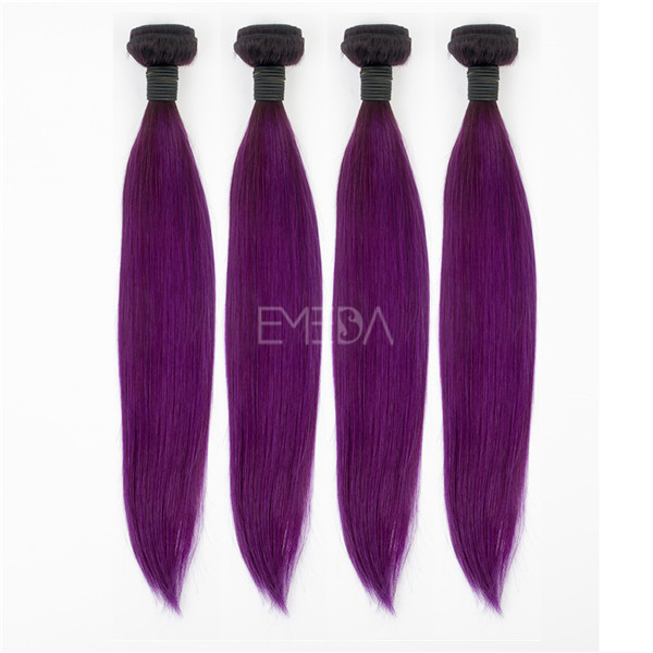 Stock grade 5A Brazilian remy purple hair extensions YJ183