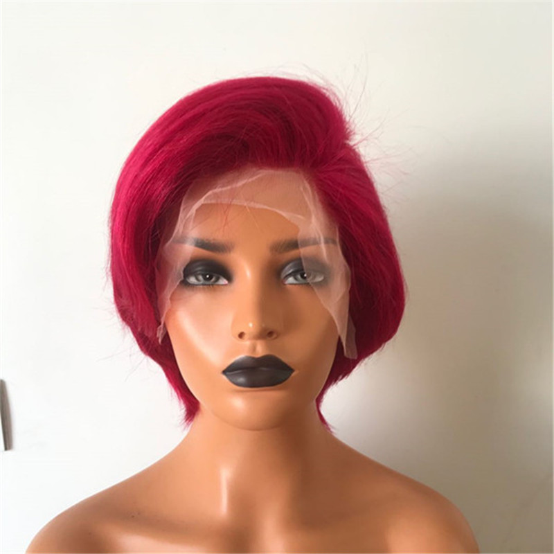 Red Color Full Lace Wig Transparent Lace Short Length Easy to Style WK155