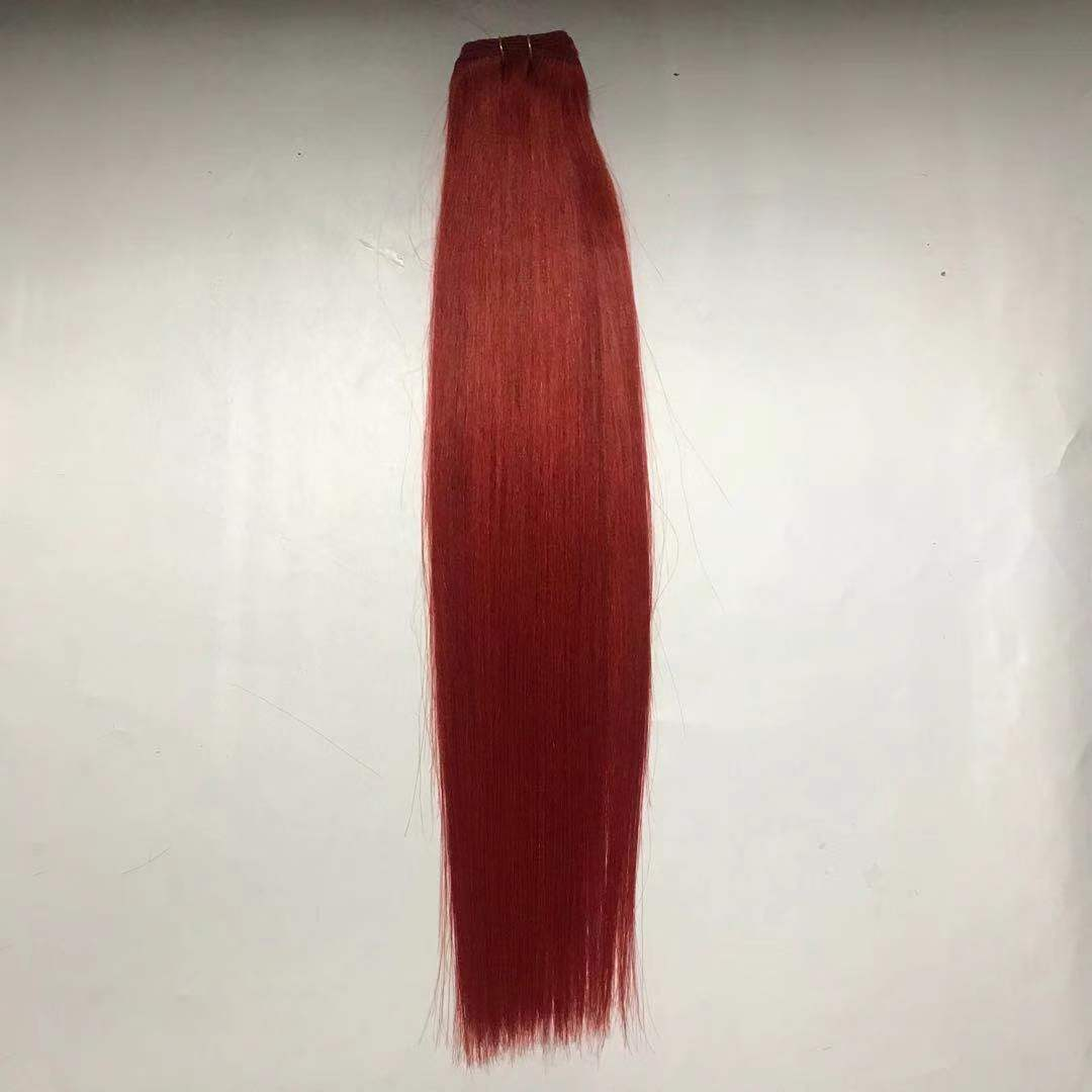 Hair Weft Beautiful Red Color Double Drawn Chinese Virgin Cuticle Hair WK237