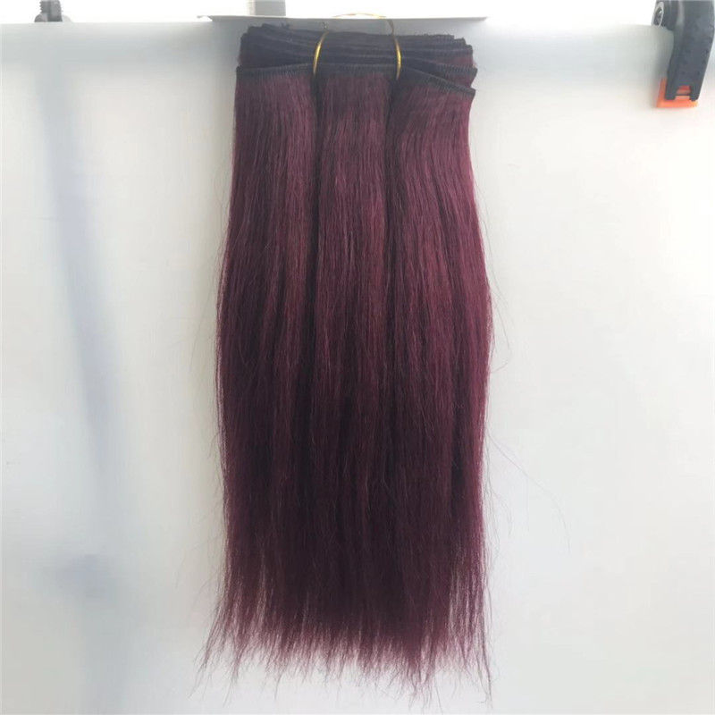 99J Purple Red Hair Weft Yaki Straight Texture Popular in Black Market WK074