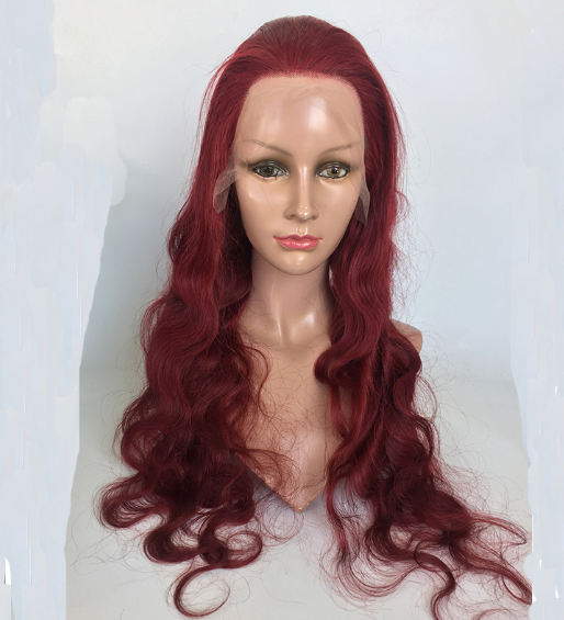 Human hair virgin hair 13*6 lace front wigs  wine red straight wave in stock wholesale price YL485