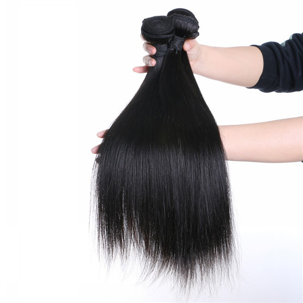 Raw Human Hair Pieces Peruvian Straight Hair Weft Hairstyles Weave    LM184