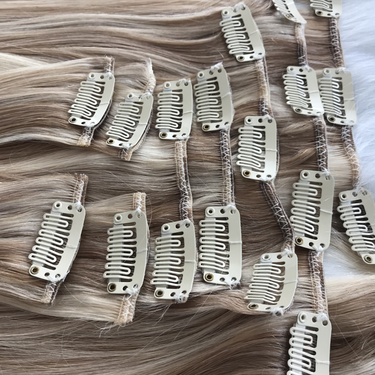 Seamless double drawn clip on hair extension manufacturers balayage mixed ash blonde color YJ300