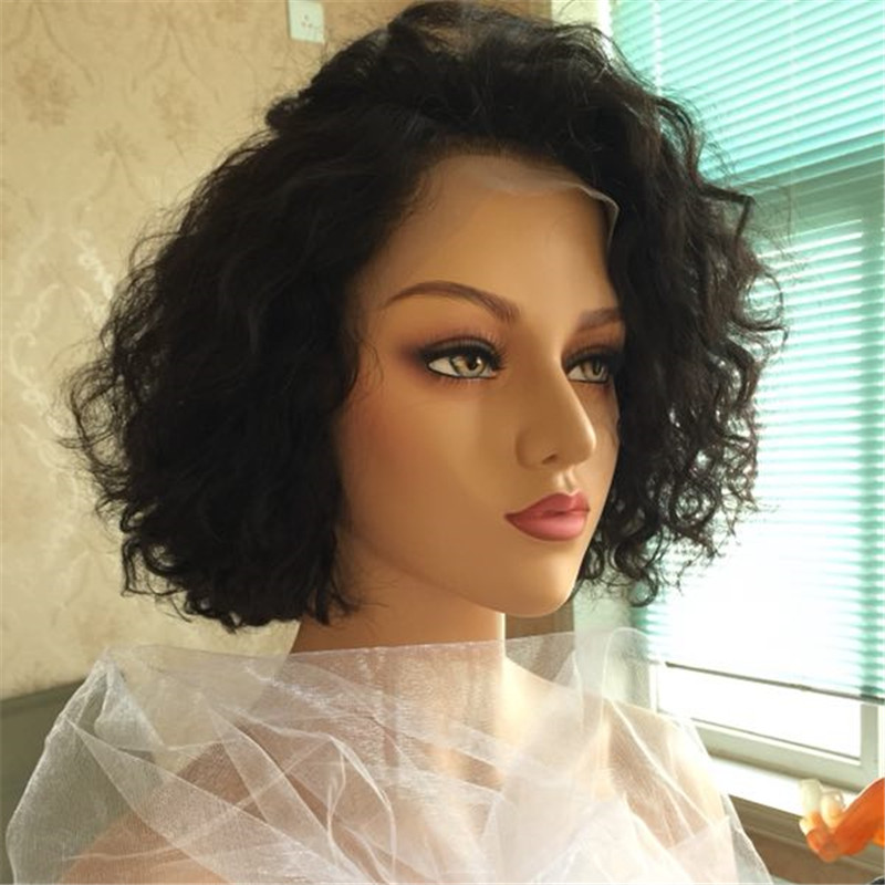 Human Hair Pre Plucked  Blonde Short Pixie Cut transparent   Lace Front Wigs Bleached Knots Blonde YL382