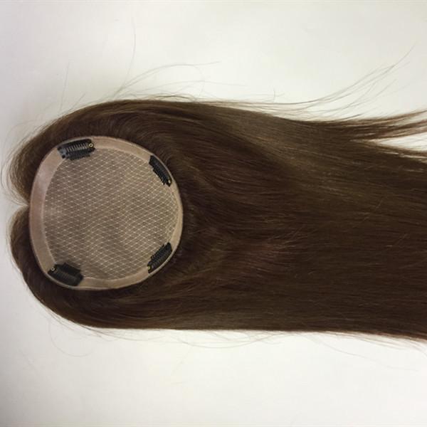 women topper human hair most natural silk base with clips YL405