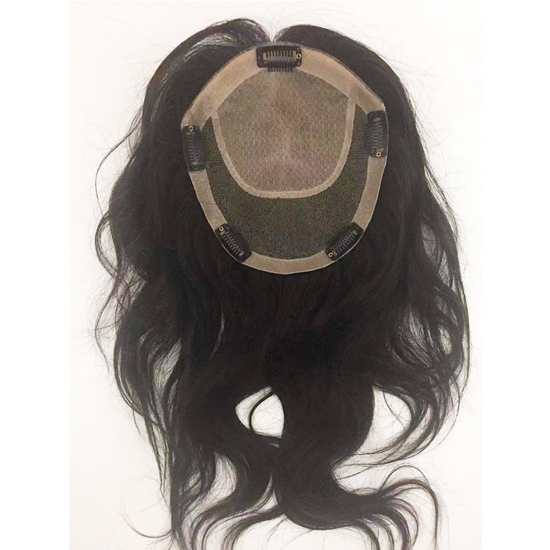 Silk Base Human Hair Topperfor Women Free part Remy Clip in Hairpiece Closure natural black YL341