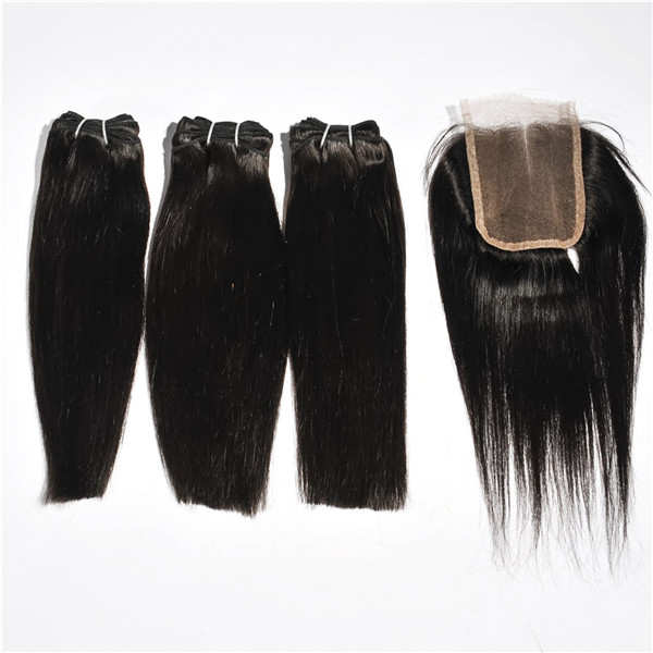 Brazillian hair bundles with closure,brazilian human hair with closure,hair extension bundles with closure HN266