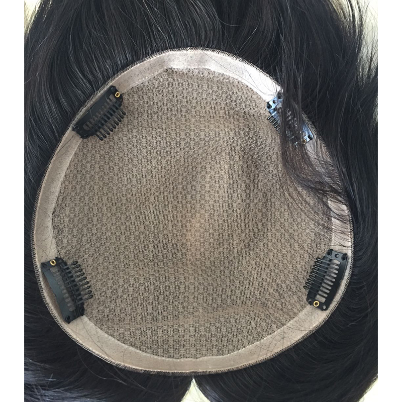 Silk base men toupees with pu arounds and with clips YL428