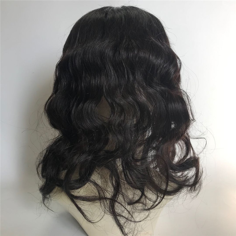 Silk Base Woman Topper Natural Black Color Curly Style WK164