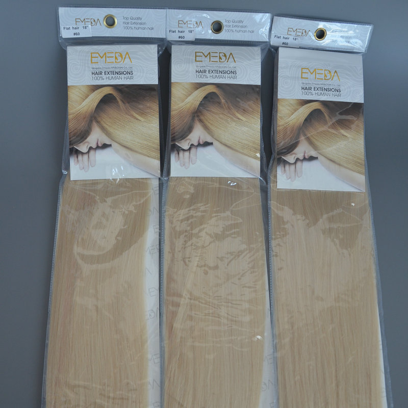Malaysian blonde hair flat square hair extension factory DL0008