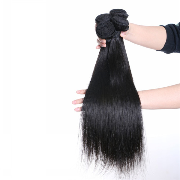 Natural Hair Weave With Closure Real Human Virgin Hair Bundles Peruvian Straight Hair  LM218