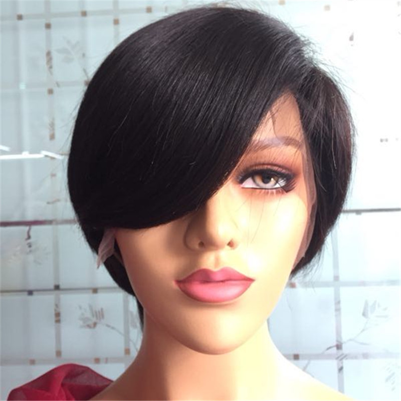 Pixie Cut Wig Straight Short Bob Human Hair Lace Front Wigs   Pre Plucked 150% Density Lace Front Human Hair Bob Wigs for   Women YL383