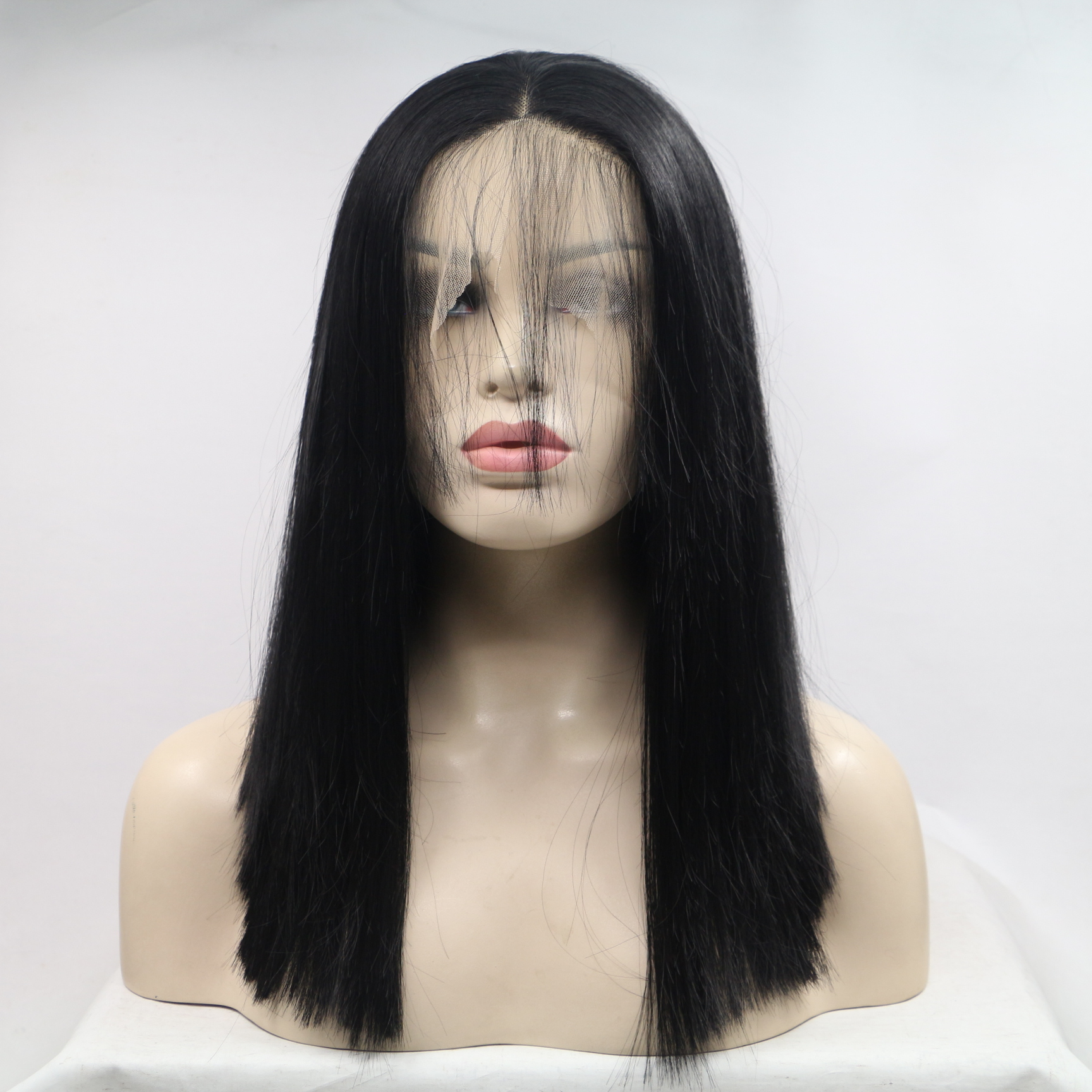 Natural black synthetic hair wig lace front wig an...</>