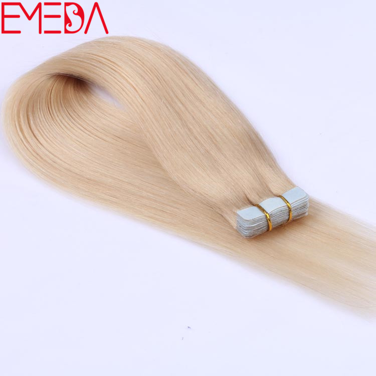 White blonde color 60 virgin cuticle tape human hair extensions suppliers EMEDA yj275