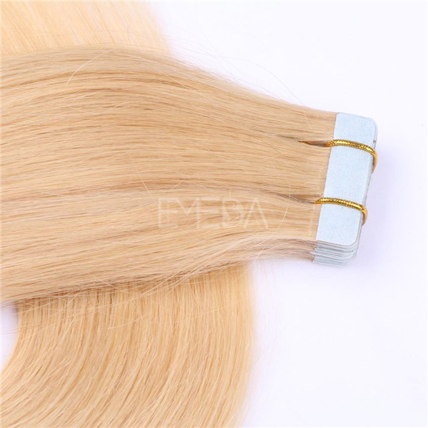 Gold tape in tape on hair extensions double drawn remy hair YL358