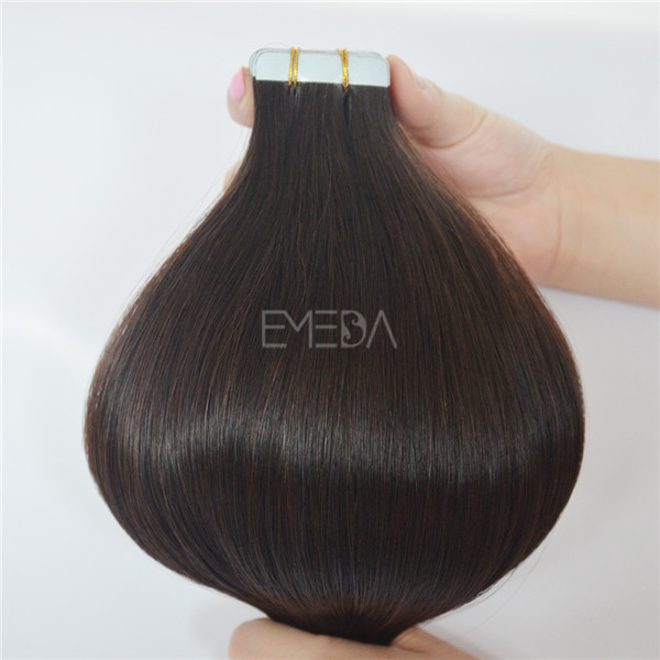 Chocolate brown tape on hair extensions YJ107