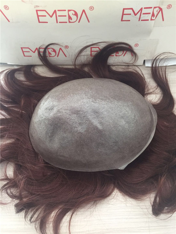 Indian hair full thin  skin human hair  red hair  colored toupee YL258