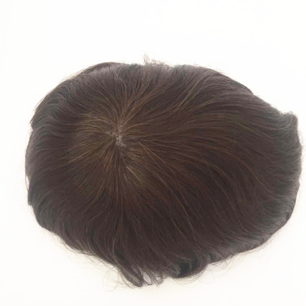 Wholesale indian remy  brown Thin skin cheap toupee for men YL261