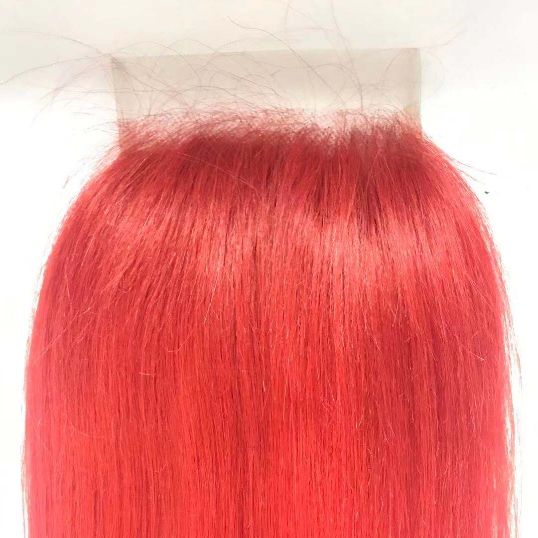 HD lace transparent lace Closure 5x5 size red customized color requested by customers WK238