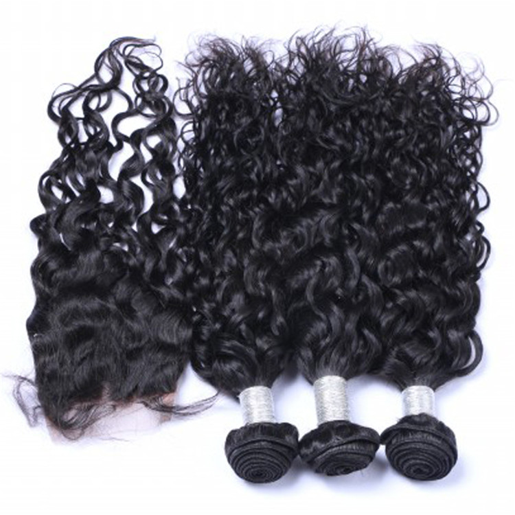 EMEDA virgin malaysian curly hair sew in hair weave bundles with closure QM008
