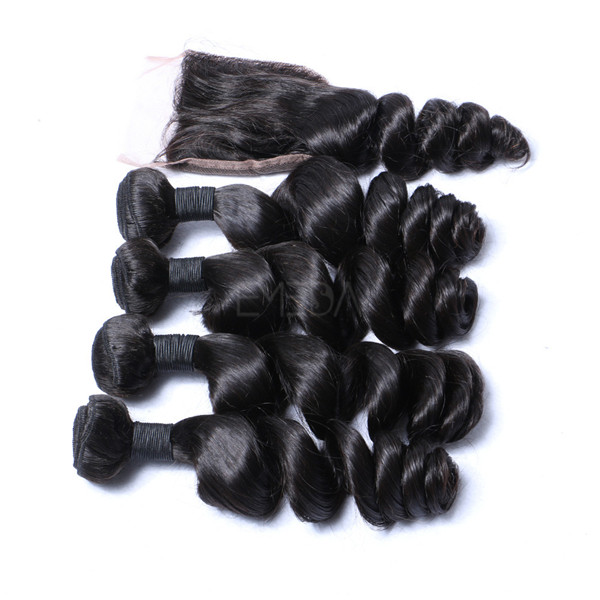 Virgin Human Hair Bundles With Closure Peruvian Cheap Hair   LM026