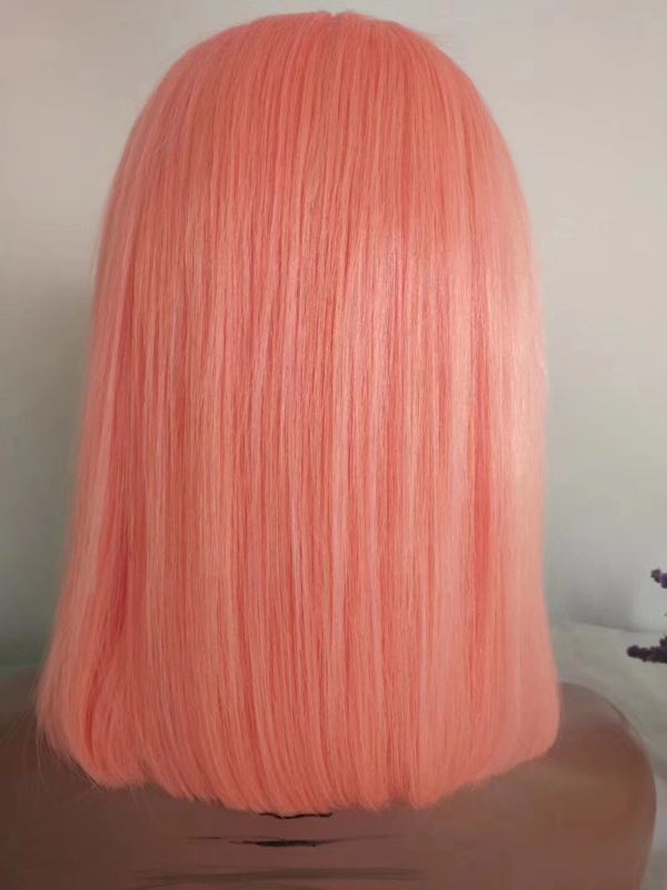 12 Inch Pink colored Human Hair Bob Lace Front Wig YL244