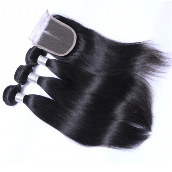 Malaysian Human Hair Bundles With Closure Good Quality Hair  LM040