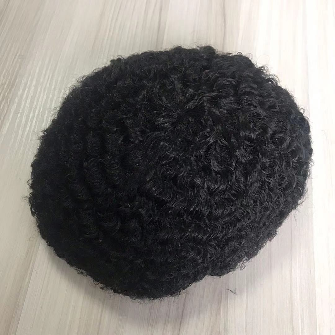 8mm Afro Curl Toupee Mono with NPU around hair piece for man WK283