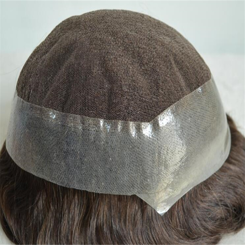 Australia Type Men Toupee Lace around Poly Material Human Hair WK052
