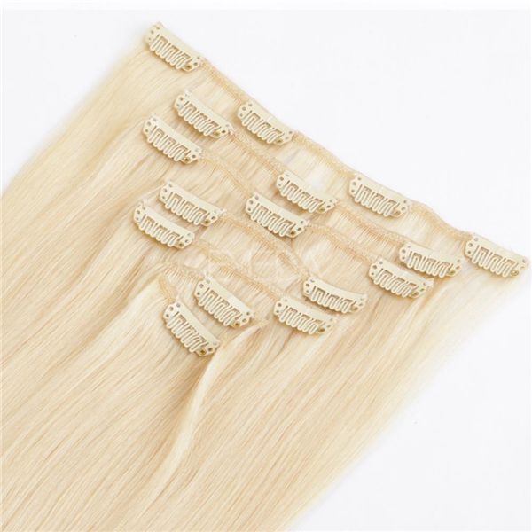 Blonde clip in hair extensions for white women YL138