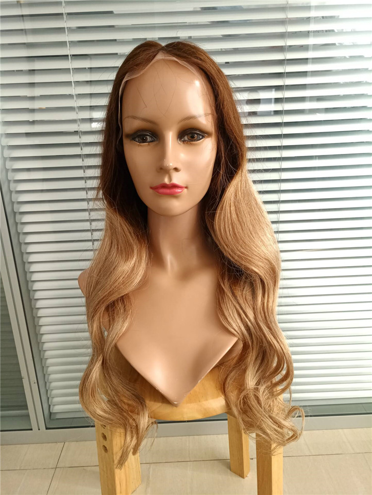 Ombre color 4-27 body wave 100% virgin remy hair glueless full lace wig 150% density YJ270