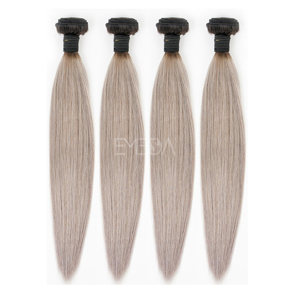 Grade 7A Peruvian grey hair extensions ombre color WK215