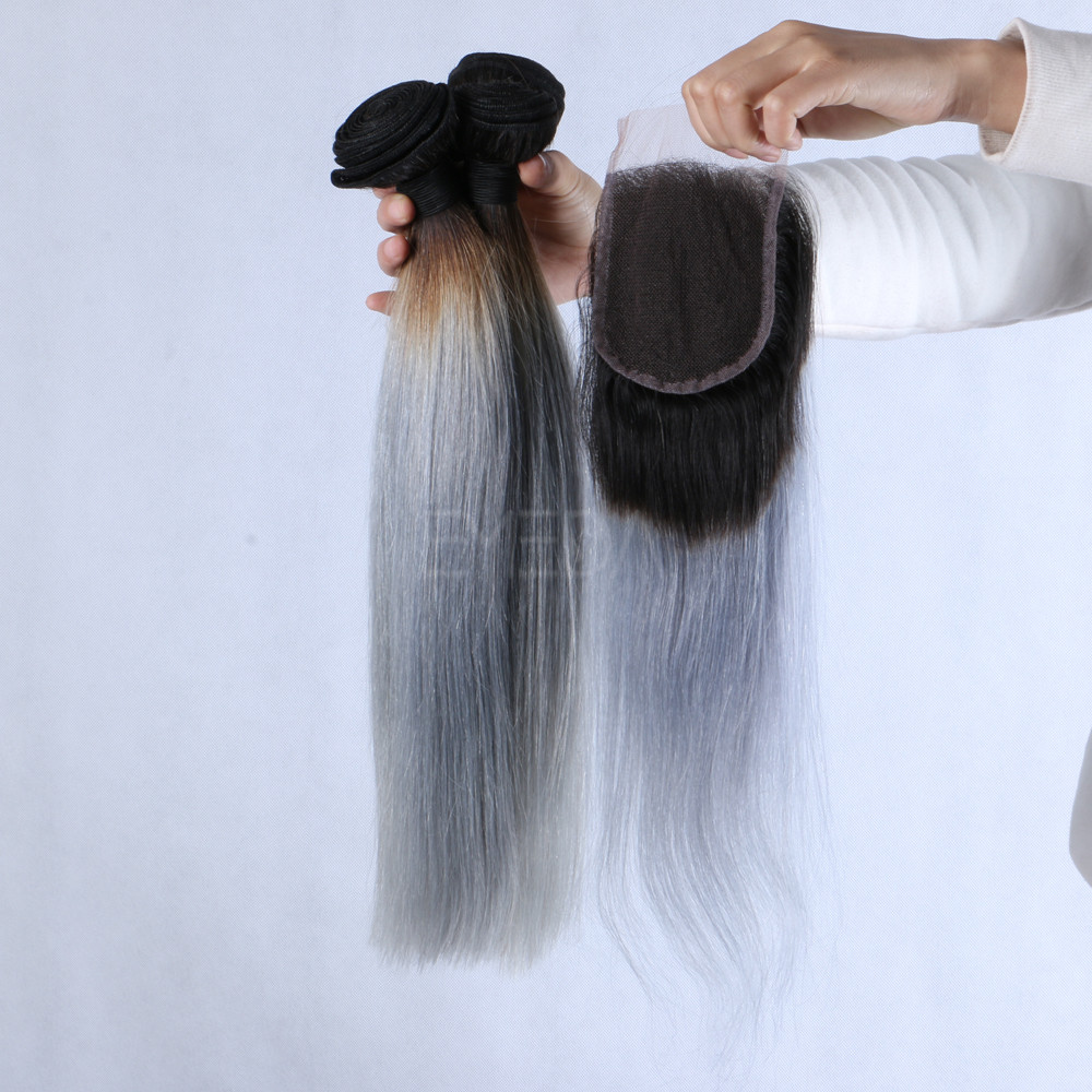 Silver hair extensions with closure LJ238