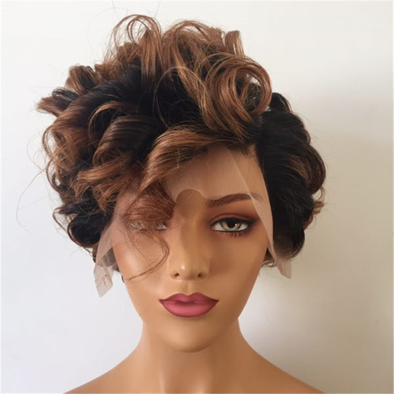 Mix Color Black and Brown Pixie Wig Popular in USA WK152