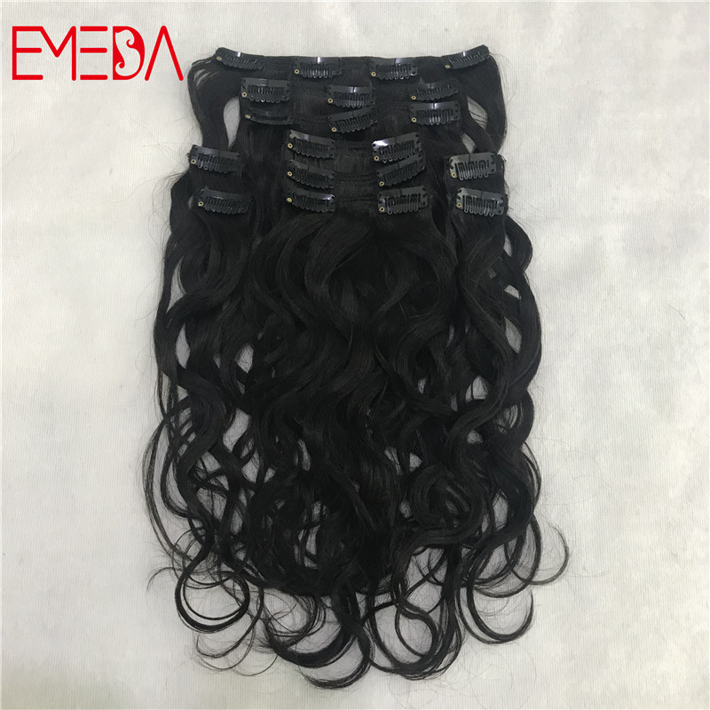 Best quality virgin natural clip in human hair extensions made in China for black girls YJ306