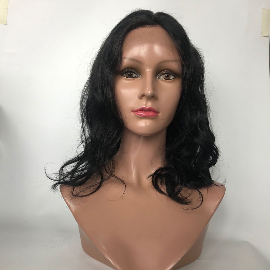 Natural Curl Lace Front Wig Jet Black Soft Hair Supplier WK172