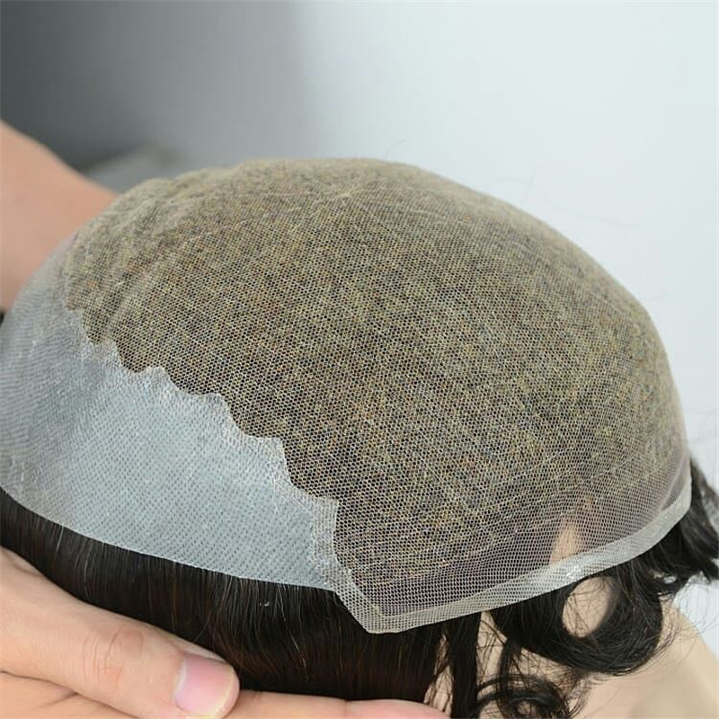 Hot Selling in Middle East Q6 Front Lace Toupee with PU around WK058
