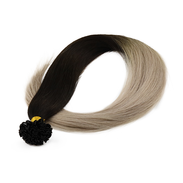 Pre-bondeded V Tip Hair Extension Omber Color Dark Brown with Platinum Customized Packaging WK266