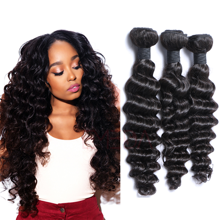 EMEDA Indian Virgin Hair Deep Curly Natural Hair Weave Bundles HW018