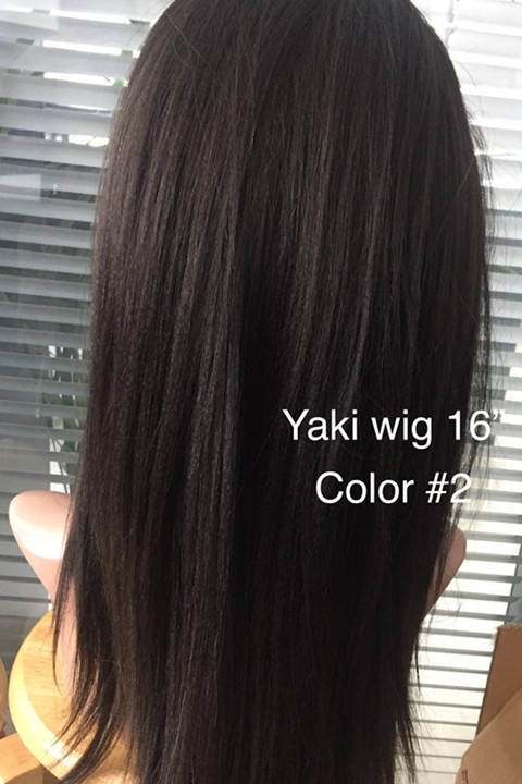 Full lace wig yaki straight human hair wig beautif...</>