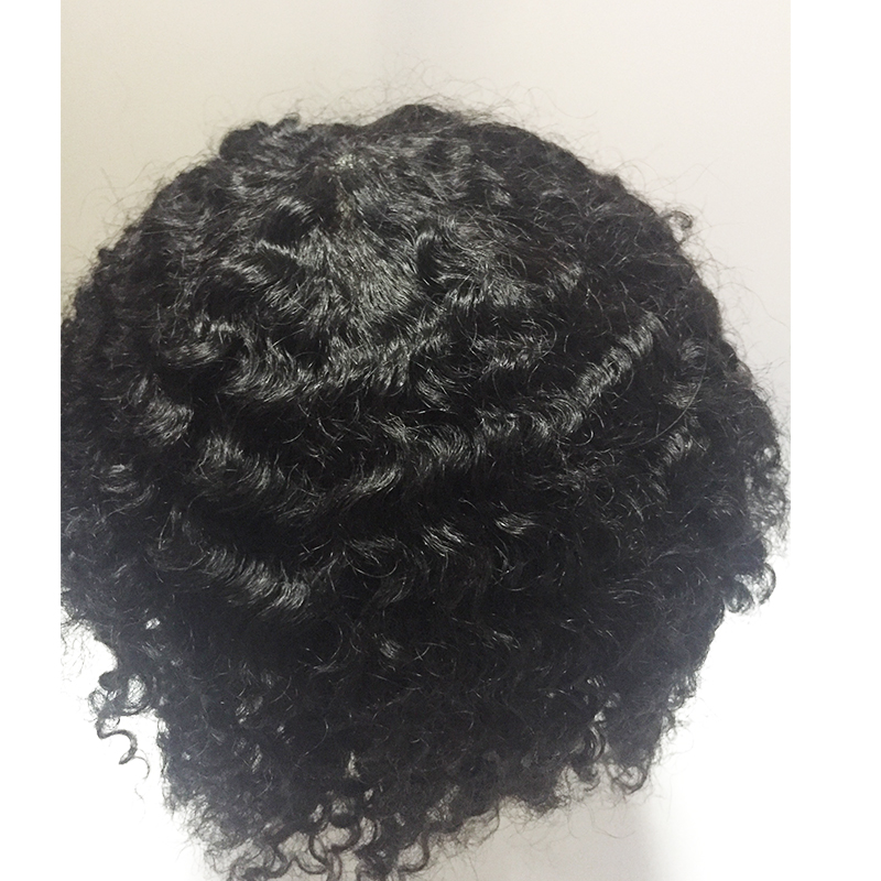 Thin skin pu afro curl  toupees full v loop  front v loop knotted hair YL479