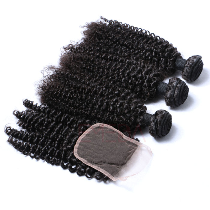 Curly Human Hair Weaves Indian Hair 9A Bundles With Closure Best Quality Hair Weft  LM234