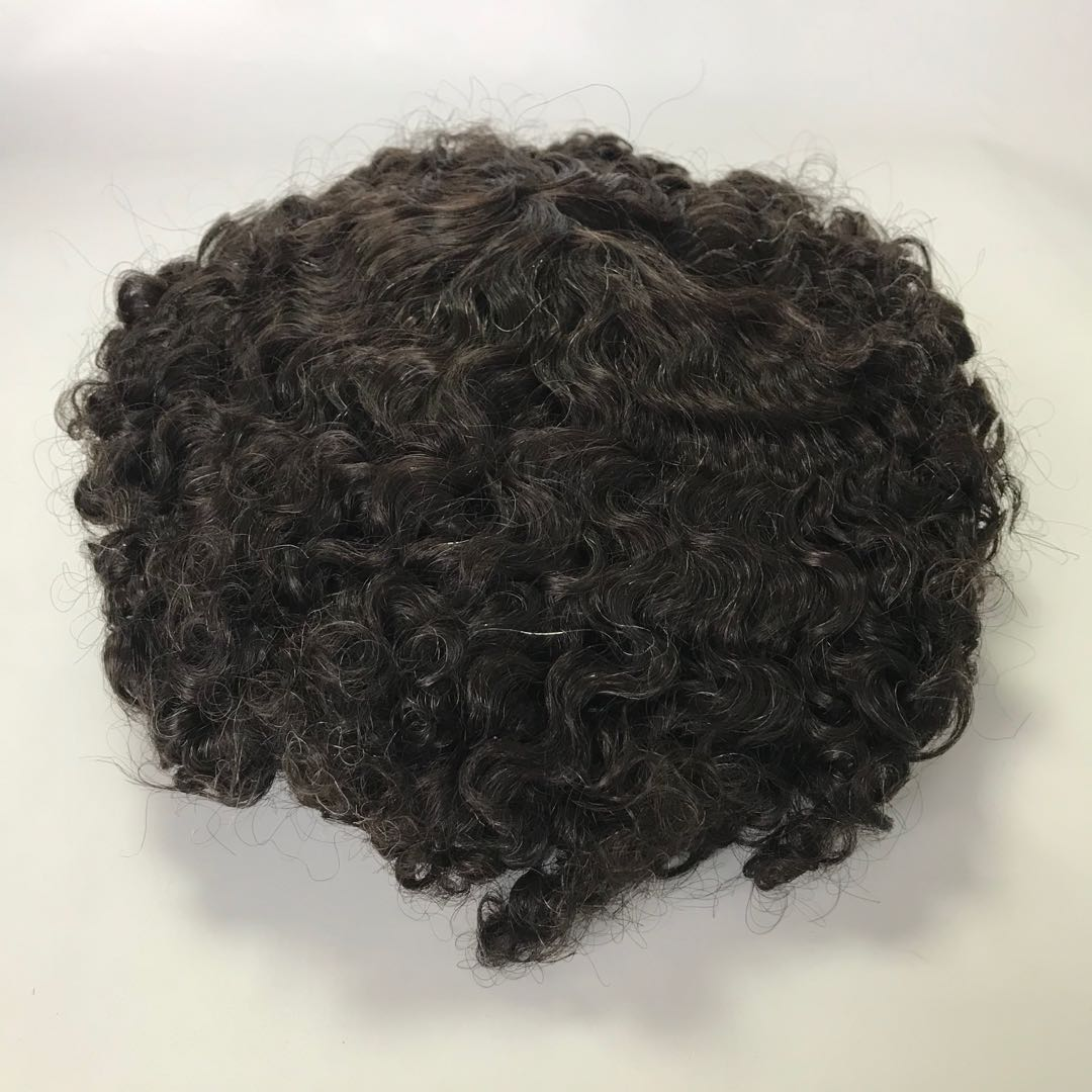 15mm Afro Curl Small Curl Man Toupee Black with White Hair Wholesaler WK174