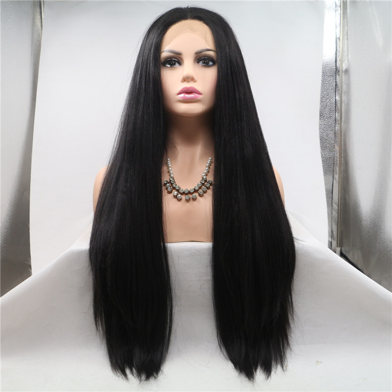 Real Human Hair Black Color Long Length Full Lace ...</>