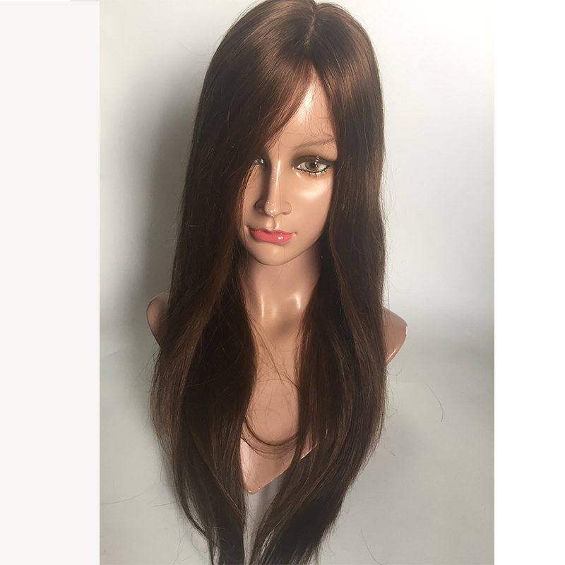 Silk base  lace wigs dark brown  human hair glueless in stock wigs YL446