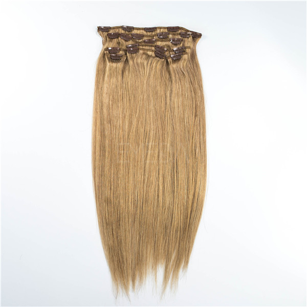Human hair clip in hair extensions 120g glod silk straight YL427