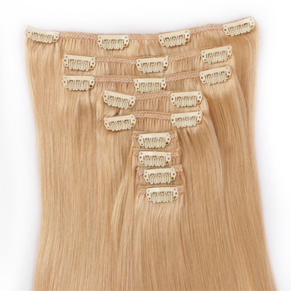 Clip in human hair extensions brown blonde XS070