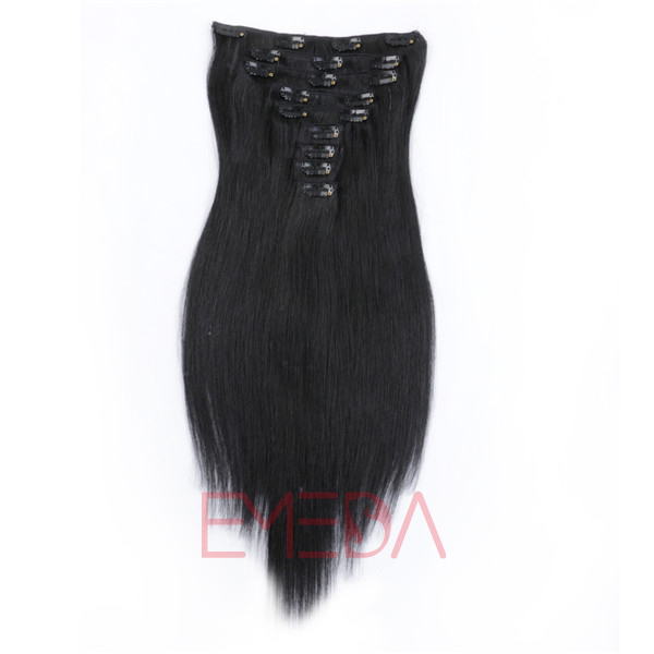 Clips in hair extensionsTop quality Brazilian hair Salon products Human hair Extensions HW0111