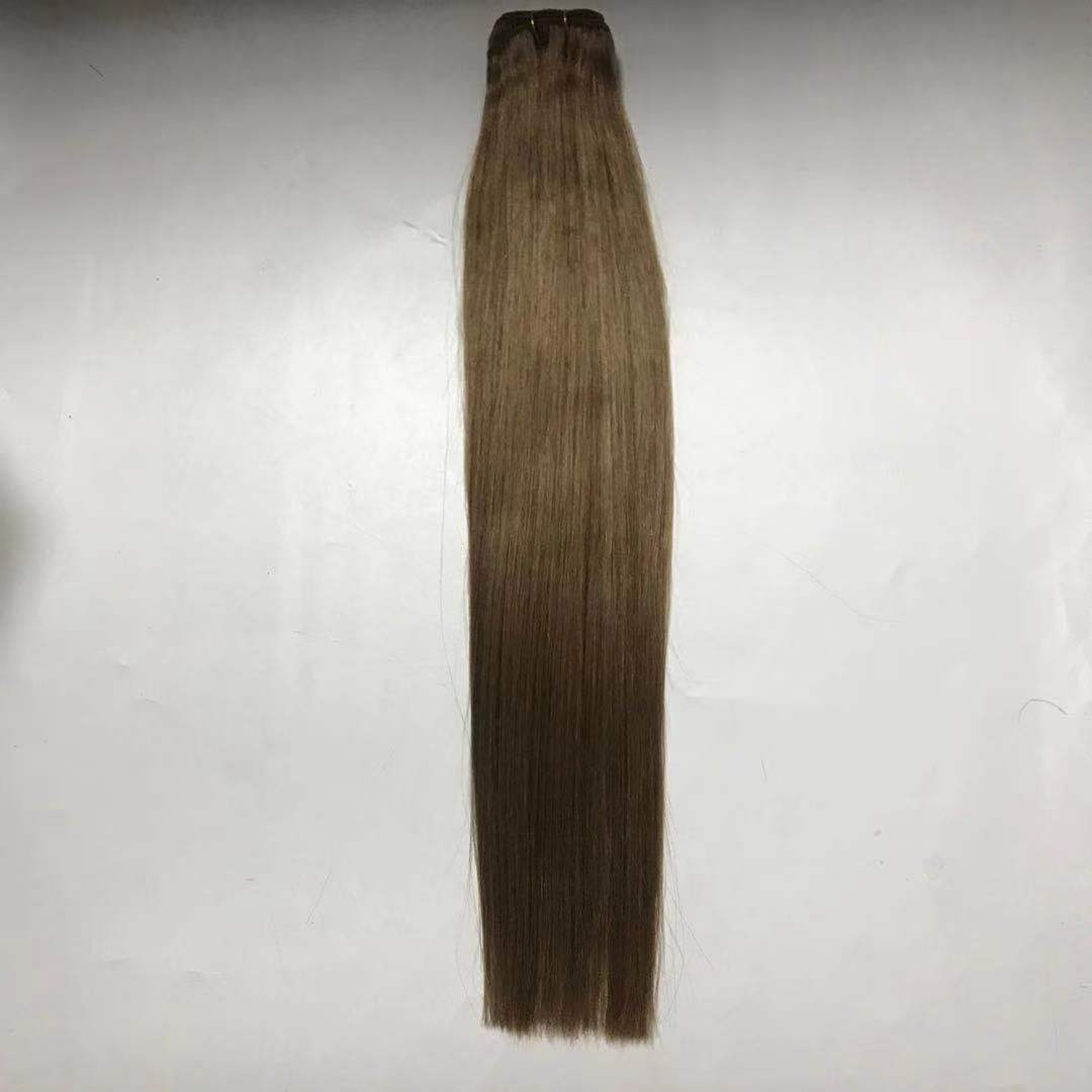 light brown hair machine weft with cold tone high grade with factory price WK241