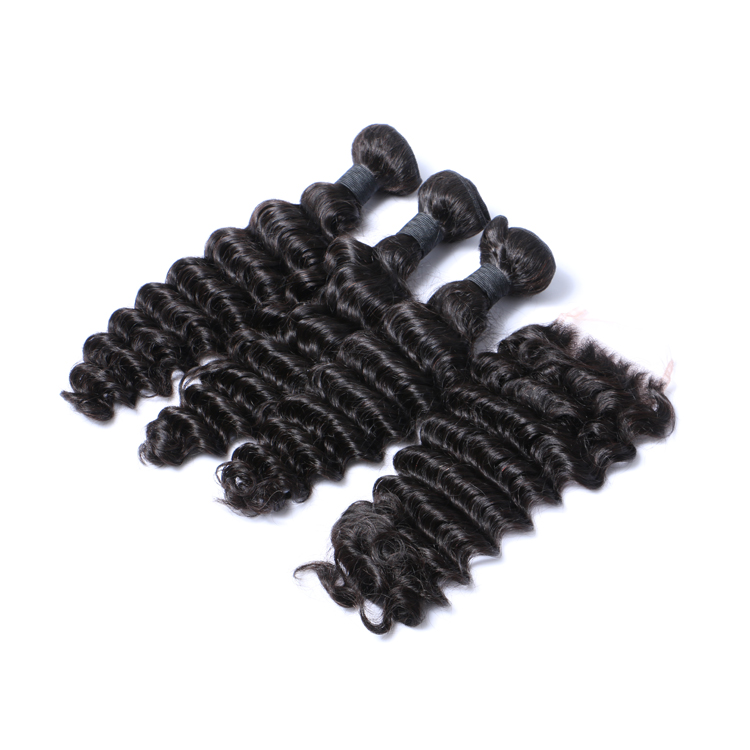 Indian Deep Curly Hair Bundles With Closure Virgin Hair Extensions  LM039